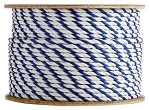 3 Strand Twisted White / White / Blue Polypropylene 1200-ft. x 3/8-inch - 2 Spools